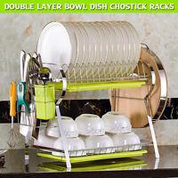 Kitchen Double layer Dish Rack Bowl Chopsticks 2Tier Drainer Drying Storage Rack