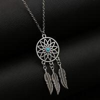 Collier sautoir attrape-rêve plumes argenté pierres turquoises pour femme