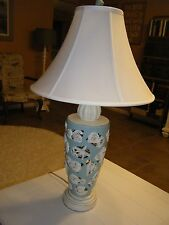 Blue and Cream Cutout SeaShell Livingroom Lamp with nightlight in base 30 inch