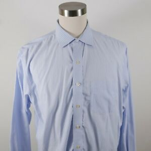 Brooks Brothers Mens Non Iron Slim Fit LS Button Up Light Blue Striped Shirt 18