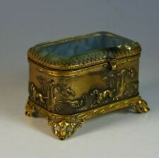 Antique French Repousse Casket Box with Beveled Glass Lid