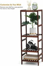 4-Tier Bamboo Bathroom Shelf Storage Rack Plant Flower Display Stand Space Saver