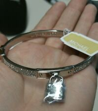 Michael Kors Glitz Silver Tone Crystal Padlock Bangle Bracelet 100% Authentic