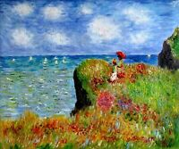 Monet Cliff Walk Pourville Repro, Quality Hand Painted Oil Painting 20x24in