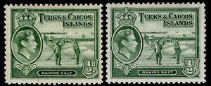 TURKS & CAICOS ISLANDS GVI SG195 + 195a, ½d SHADES, M MINT. Cat £11.