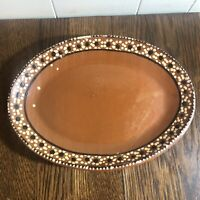 "Vintage MEXICAN Terra Cotta/RED BARRO Clay 11.5"" Oval Platter Hand Painted"