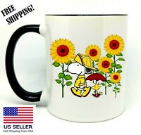 Snoopy, Sunflowers,  Birthday, Christmas Gift, Black Mug 11 oz, Coffee/Tea