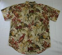 Chaps Ralph Lauren Hawaiian Shirt Large Tropical Paradise Birds Floral Beige