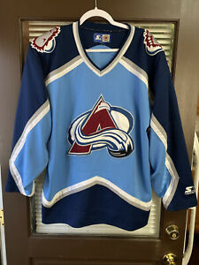 Vintage STARTER Colorado Avalanche NHL Hockey Jersey Light Blue vtg 90's Large