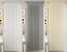WILLOW VOILE CURTAIN PANEL,LACE EFFECT NET CURTAINS,SLOT TOP,3 GREAT COLOURS
