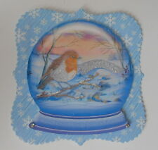 Pk 2 christmas snowglobe robin toppers pour cartes et artisanat