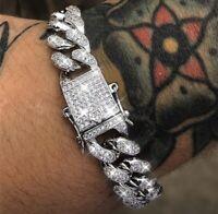 Armband Herren Silber Diamant Versilbert Luxus Schmuck Iced Out Neu