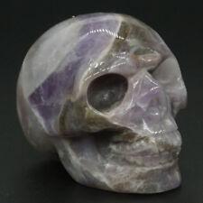 "2"" Amethyst Skull Figurine Gemstone Healing Crystal Home Halloween Decor #5"