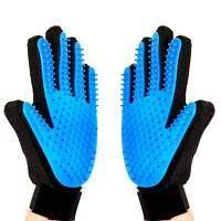 2x Pet Grooming Glove Brush Dog Cat Fur Hair Removal Mitt Massage Deshedding