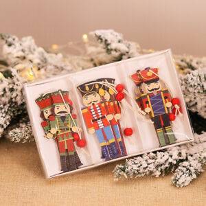 6Pcs Nutcracker Soldier Christmas Mini Wooden Doll Ornaments Xmas Gifts Decor UK