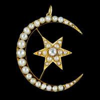 ANTIQUE VICTORIAN CRESCENT STAR DIAMOND PEARL PENDANT 18CT GOLD CIRCA 1880