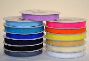 Organza Ribbon 10mm x 50 yrds. Variety of colours. choose colour from menu