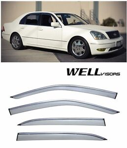 For 2001-2006 Lexus LS430 WellVisors Side Window Visors W/ Chrome Trim