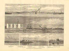 England, Forts For The Defence Of The Thames And Medway, 1876 Antique Art Print.