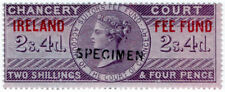 (I.B) QV Revenue : Ireland Chancery Fee Fund 2/4d (specimen)