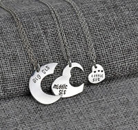 Heart Pendant Big Middle Little Sis Sisters Forever Love Necklaces Chain 3pcs
