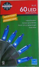 Blue Mini LED Green Wire Christmas Lights 60 Count 19.6 Feet New