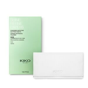 Kiko Shine Refine Papers 100pcs Powdered Blotting Sheets for TouchUps Mattyfying