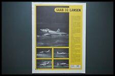 AD SAAB 32 LANSEN COLD WAR ERA AIRCRAFT ID 1956 AIR DIAGRAM RECOGNITION SHEET