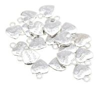 """""""Thank You"""" BRIGHT SILVER Heart Pendant Charm Beads Wedding Favours - lady-muck1"""