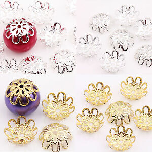 200 Silver Gold Plated Filigree Flower Bead Cap Jewellery Craft Finding 10mm DIY