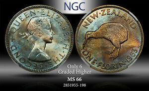 1963 NEWZEALAND 1 FLORIN NGC MS 66 ONLY 6 GRADED HIGHER # TONED