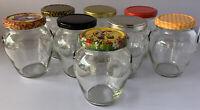 WEDDING  SMALL  GLASS JAM JARS HONEY PRESERVE CANDLE X 12 X 314ML.DIFFER.LIDS