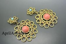 Vintage Rare 60s KJL Kenneth Jay Lane Moghul cabochon glass flower earrings