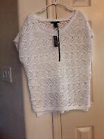 NWT White House/Black Market women's tunic sweater crocheted chunky knit White L