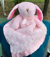 Blankets & Beyond Pink Bunny Rabbit Security Blanket Lovey Plush Stuffed Animal