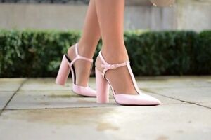 ZARA PINK FAUX LEATHER HIGH HEEL POINTED T BAR ANKLE STRAP SHOES SIZE:EU 38,UK 5