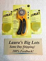 OLFA 45mm Ergonomic ROTARY CUTTER NEW Includes 2 Extra Blades  Free Ship