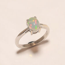 Natural Ethiopian Welo Fire Opal Solitaire Ring 925 Sterling silver Jewelry Gift