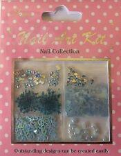 """""""Nail Art Kit 06"""" 3D Set blau dekoration Schleifen- Herze - Perlen - Steine TOP"""