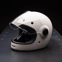 UK SELLER BELL BULLITT SOLID WHITE RETRO CAFE RACER MOTORCYCLE CRASH HELMET