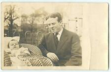 Dad & Baby in Wicker Carriage Stroller Buggy '10s Antique RPPC Postcard  25600