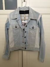 🍁BNWT NEW One Teaspoon Recycled Denim Jacket Boho Indie Distressed Fray Small 8