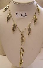 """New Tagged Marciano Brass Gold Leaf Lariat Jewelry Chain Necklace 16"""" w 5"""" Drop"""
