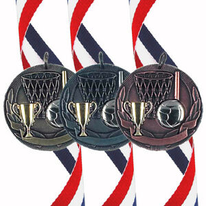 Netball - 50mm Medal (In Gold, Silver or Bronze) With Ribbon & FREE Engraving