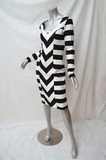 New CHARLIE BROWN Black White Stripe Long Sleeve Ponte Dress 8 $349