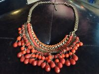 VINTAGE RUNWAY STATEMENT NECKLACE CHOCKER ORANGE AND RED CHUNKY GOLD CHAIN