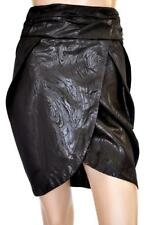NICOLA FINETTI SZ 6 WOMENS Black Textured Evening Wrap Style Tulip Short Skirt