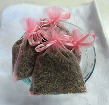 Set of 4 Lavender Sachets made with Pink Organza Bags