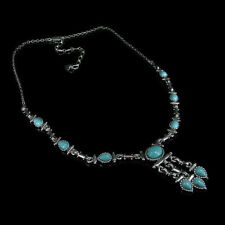 .925 Sterling Silver Natural Kingman Turquoise Linked Necklace