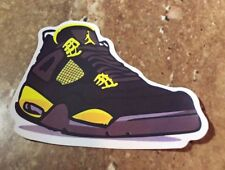 "Nike Air Jordan Retro 4 IV ""Unknown Colorway"" Black/Yellow-Purple Sticker"